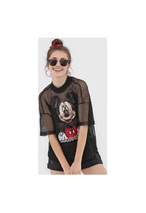 Camiseta Colcci Tela Mickey Preta