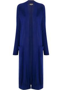 N.Peal Cardigan Longo De Cashmere - Azul