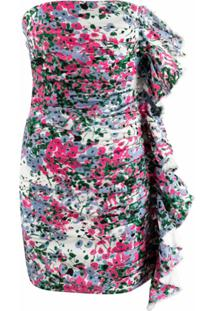 Gina Vestido Tomara Que Caia Floral Com Acabamento De Babados - Rosa