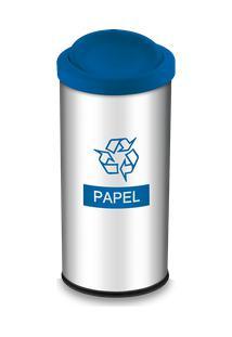 Lixeira Seletiva Com Tampa Basculante E Adesivo Azul 40,5 Litros - Decorline Lixeiras Ø 30 X 60 Cm - Brinox