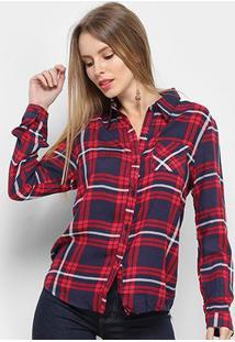 Camisa Adooro Manga Longa Xadrez Feminina - Feminino-Vermelho