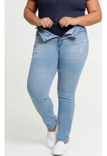 Calça Jeans Skinny Feminina Super Lipo Modeladora Plus Size