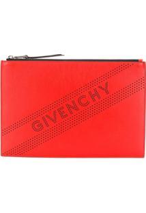 Givenchy Clutch Com Logo Perfurado - Vermelho