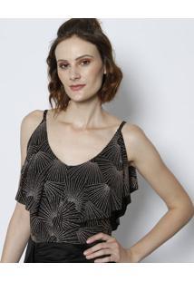 Body Texturizado & Geométrico Com Brilho- Preto & Rosêtvz