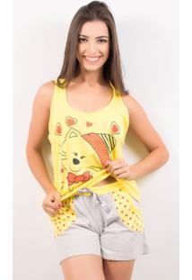 Pijama Short Doll Feminino Tal Mãe - Feminino-Amarelo