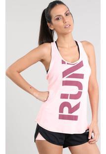 "Regata Feminina Esportiva Ace ""Run"" Decote Nadador Rosa Claro"
