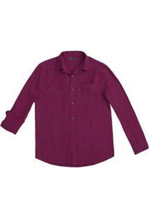 Camisa Masculina Básica Em Fio Tinto De Algodão Com Botão Na Gola