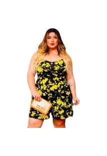 Macaquinho Feminino Plus Size Alcinha Verão Floral Dona Bordô - Preto/Amarelo