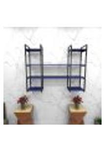 Estante Estilo Industrial Sala Aço Cor Preto 120X30X98Cm (C)X(L)X(A) Cor Mdf Azul Modelo Ind50Azsl
