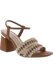 Sandalia Dakota Salto Geometrico Tiras Caramelo