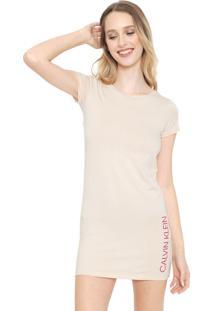 Camisola Calvin Klein Underwear Curta Lettering Rosa