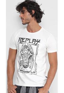 Camiseta Replay Estampada Masculina - Masculino-Off White