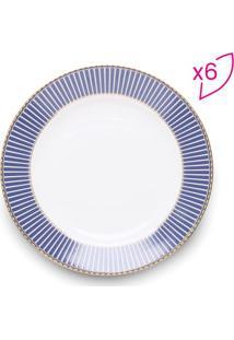 Jogo De Pratos Para Sobremesa Bone China- Branco & Azul Rojemac