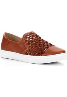 Tênis Shoestock Couro Tramado - Feminino-Caramelo