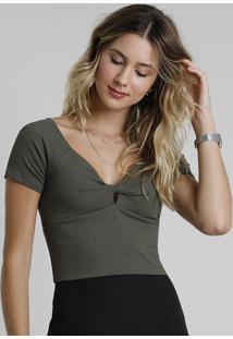 Blusa Feminina Cropped Canelada Com Transpasse Manga Curta Verde