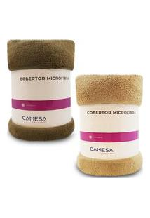 Kit 2 Manta Cobertor Queen Microfibra Soft Macia Fleece 220X240Cm Camesa - Emcompre