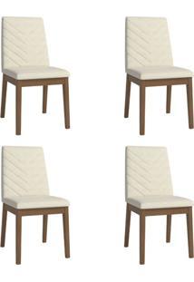 Conjunto Com 4 Cadeiras De Jantar Tai Bege