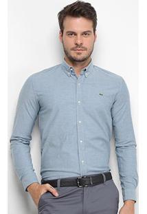 Camisa Lacoste Manga Longa Slim Masculina - Masculino-Azul Petróleo