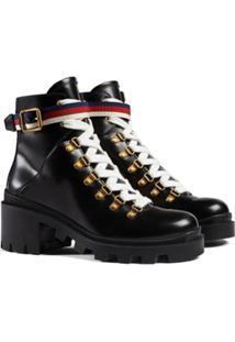 Gucci Ankle Boot De Couro Com Fita Sylvie Web - Preto