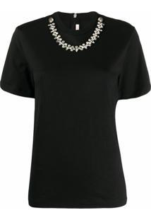 Christopher Kane Camiseta Com Aplicação De Cristais - Preto