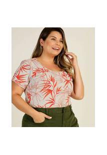 Blusa Plus Size Feminina Canelada Estampa Folhas Marisa