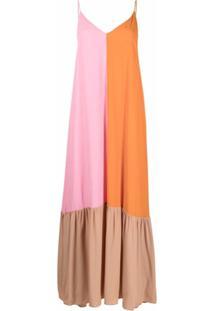 Semicouture Vestido Longo Color Block - Laranja