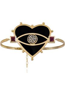 Bracelete Look Amarelo C/Diam Chocol,Qtzo Negro E Rodol - U