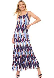 Vestido Queens Paris Longo Estampado Azul-Marinho/Off-White
