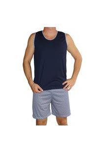 Pijama Masculino Regata Shorts Curto Estampado Verão - Azul Marinho