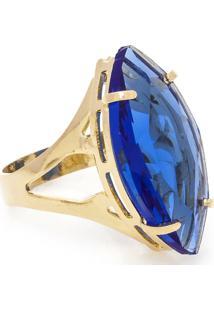 Anel Banho De Ouro Cristal Navete - Feminino-Azul