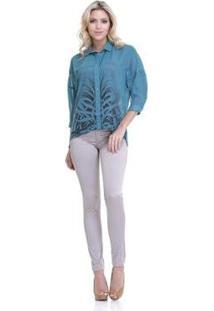 Camisa Gongora Estampada 3/4 12004 - Feminino-Verde