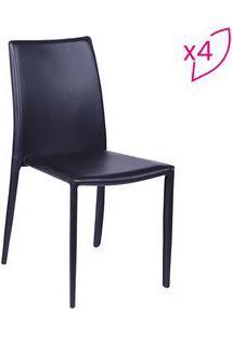 Or Design Jogo De Cadeiras De Jantar Glam Preto 4Pã§S