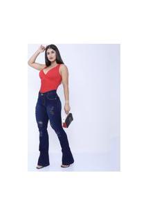 Calça Jeans Mania Do Jeans Skyni Cintura Alta Azul Escuro Rasgado Flare