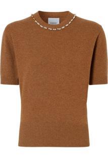 Burberry Blusa De Cashmere Com Aplicação De Cristais - Marrom