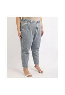 Calça Jeans Feminina Mindset Plus Size Slouchy Cintura Alta Com Bolsos Azul Médio