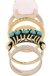 Iosselliani Conjunto De Anéis 'Elegua' Banhados A Ouro - Metálico