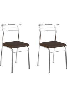 Kit 2 Cadeiras 1708 Cacau/Cromado - Carraro Móveis