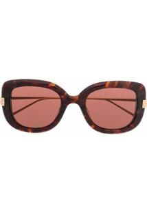 Boucheron Eyewear Óculos De Sol Oversized - Marrom