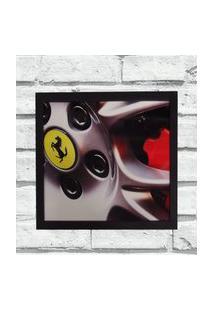 Quadro Decorativo Sala Metal Roda Ferrari Cor Preto 40X50X2
