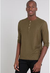 Camiseta Masculina Com Botões Manga Longa Gola Careca Verde Militar