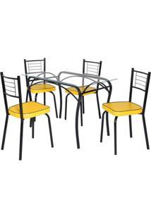 Conjunto De Mesa Tampo Vidro Lion Com 4 Cadeiras Juliana Art Panta Preto/Amarelo