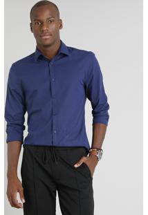 Camisa Masculina Slim Listrada Manga Longa Azul Marinho