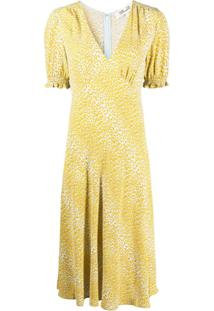 Dvf Diane Von Furstenberg Vestido Midi Com Estampa De Leopardo - Amarelo