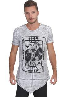 Camiseta Raoyal Brand Long Dead King Branco-Cinza