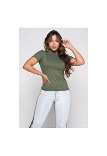 Blusa Gola Alta Canelada Rb Moda Cacharrel Verde Militar