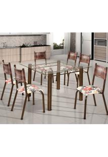 Conjunto De Mesa Quadrada Tampo De Vidro 6 Cadeiras França Bm Móveis Tubulares Ouro Velho/Jacquard Argila/Belize