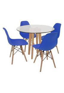 Conjunto Mesa De Jantar Em Vidro 90Cm Com Base Vértice + 4 Cadeiras Eiffel - Azul