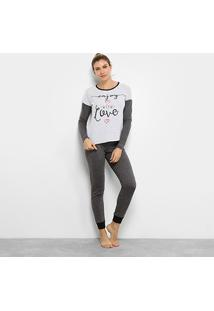 Pijama Censato Longo Em Malha Botonê Feminino - Feminino-Cinza+Rosa