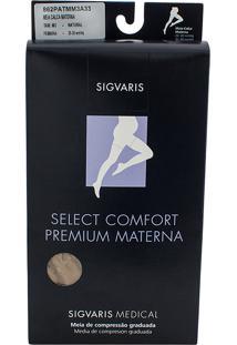 Meia Calça Materna Sigvaris Select Comfort Premium 20-30 Mmhg Ponteira Aberta M (Tamanho Médio) Longo (M3), Cor Bege