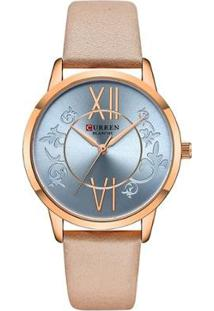 Relógio Curren Analógico C9049L Feminino - Feminino-Bege